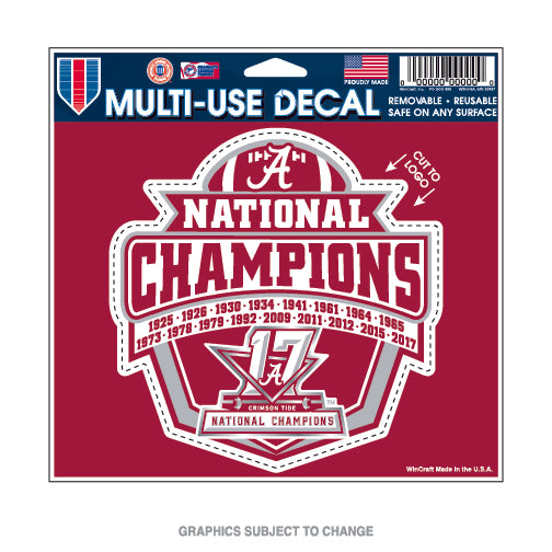"Alabama Crimson Tide National Champions Multi Use Decal 4.5"" x 5.75"" - Star Spangled LLC"