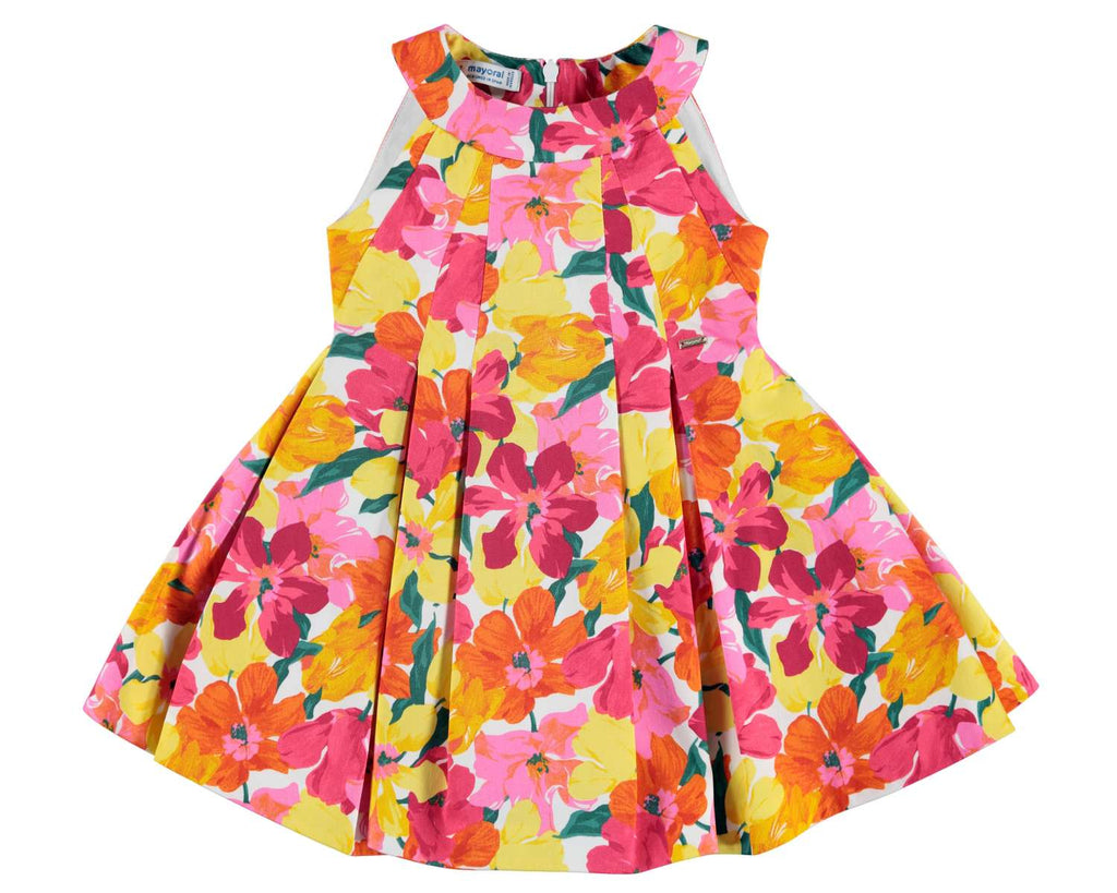 coral and yellow flower dress