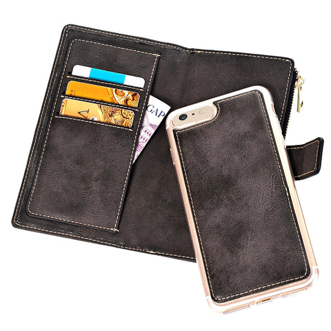 Buy Online  IPhone 7 Retro Style Crazy Horse Texture Horizontal Flip Leather Case with Separable Back Cover & Zip Fastener & Card Slot & Wallet & Magnetic Buckle (Black) Apple Cases - MEGA Discount Online Store Ghana