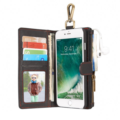 Buy Online  CaseMe for iPhone 7 Plus Multifunctional Leather Case with Detachable Magnetic PC Back Protective Case & 4 Card Slots & 2 Cash Slots & 1 Zipper Wallet & 1 Photo Frames & 1 Hook (Black) Apple Cases - MEGA Discount Online Store Ghana