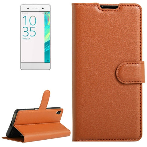 Buy Online  Litchi Texture Horizontal Flip Leather Case with Holder & Card Slots & Wallet for Sony Xperia XA(Brown) Sony Cases - MEGA Discount Online Store Ghana