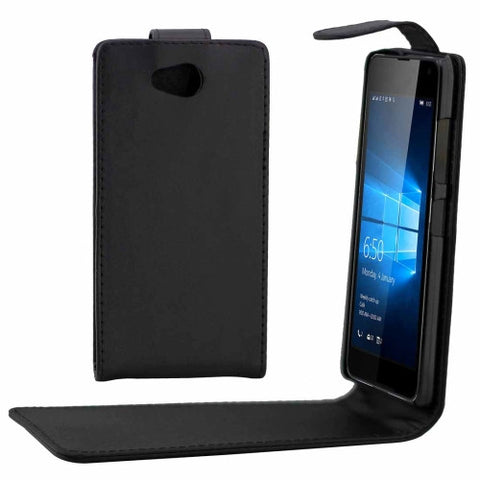 Buy Online  Microsoft Lumia 650 Plain Texture Vertical Flip Leather Case Waist Bag with Magnetic Buckle(Black) Microsoft Cases - MEGA Discount Online Store Ghana