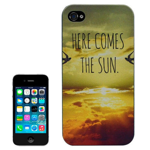 Buy Online  Black Frame HERE COMES THE SUN Pattern Frosted PC Protective Cover for iPhone 4 & 4S Apple Cases - MEGA Discount Online Store Ghana