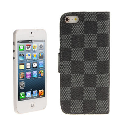 Buy Online  Grid Texture Horizontal Leather Cover with Credit Card Slots & Holder for iPhone 5 & 5S Apple Cases - MEGA Discount Online Store Ghana