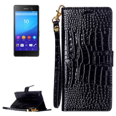 Buy Online  Crocodile Texture Horizontal Flip Leather Case with Holder & Card Slots & Wallet & Lanyard for Sony Xperia M5(Black) Sony Cases - MEGA Discount Online Store Ghana