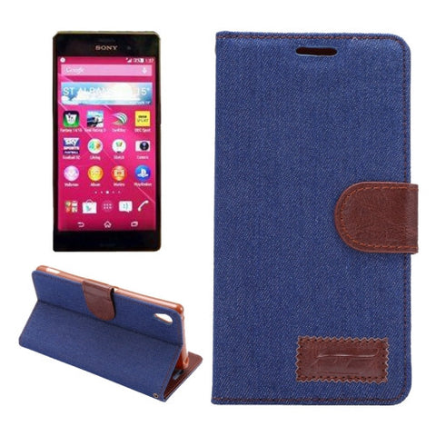 Buy Online  Denim Texture Horizontal Flip Magnetic Buckle Leather Case with Card Slots & Holder for Sony Xperia Z3+(Dark Blue) Sony Cases - MEGA Discount Online Store Ghana