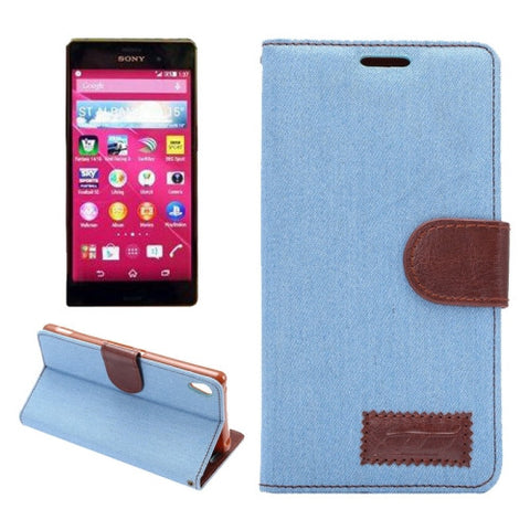 Buy Online  Denim Texture Horizontal Flip Magnetic Buckle Leather Case with Card Slots & Holder for Sony Xperia Z3+(Blue) Sony Cases - MEGA Discount Online Store Ghana