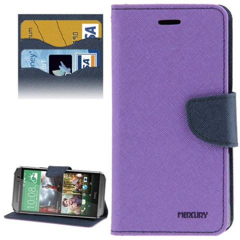 Buy Online  Cross Texture Leather Case with Card Slots & Holder for HTC One M8(Purple) HTC Cases - MEGA Discount Online Store Ghana