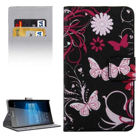 Buy Online  Butterfly and Flower Pattern Horizontal Flip Leather Case with Holder & Card Slots & Wallet for Microsoft Lumia 950 XL Microsoft Cases - MEGA Discount Online Store Ghana