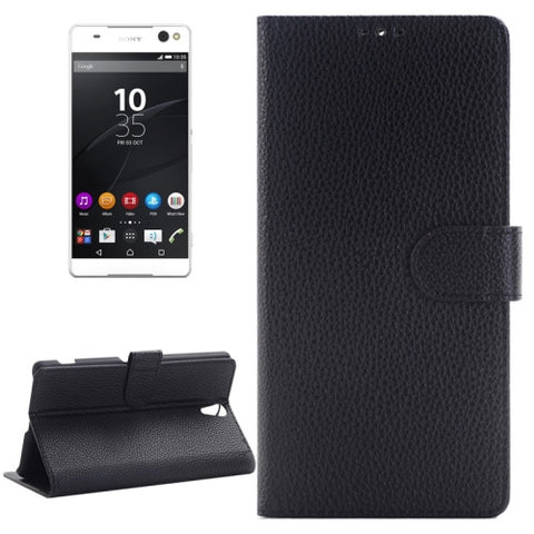 Buy Online  Litchi Texture Horizontal Flip Solid Color Leather Case with Holder & Card Slots & Wallet for Sony Xperia C5 Ultra(Black) Sony Cases - MEGA Discount Online Store Ghana
