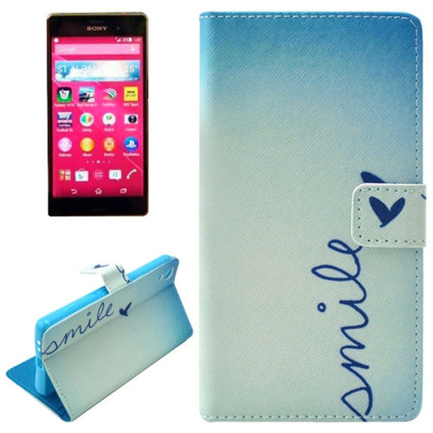 Buy Online  SMILE Pattern Horizontal Flip Magnetic Buckle Leather Case with Card Slots & Wallet & Holder for Sony Xperia Z3+ Sony Cases - MEGA Discount Online Store Ghana