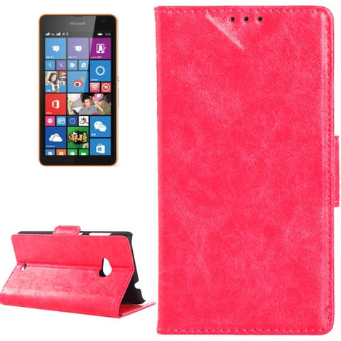 Buy Online  Oil Skin Texture Horizontal Flip Leather Case with Card Slots & Wallet & Holder for Microsoft Lumia 535(Magenta) Microsoft Cases - MEGA Discount Online Store Ghana
