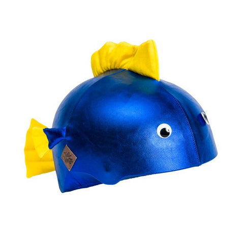 Blue Fish Helmet Cover - Girls, Boys & Adults , One Size - Tail Wags Helmet Covers Inc, Tail Wags Helmet Covers  - 1