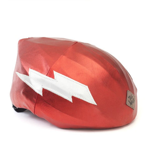 Lightning Helmet Cover (Red) - Girls, Boys & Adult , One Size - Tail Wags Helmet Covers, Tail Wags Helmet Covers  - 1