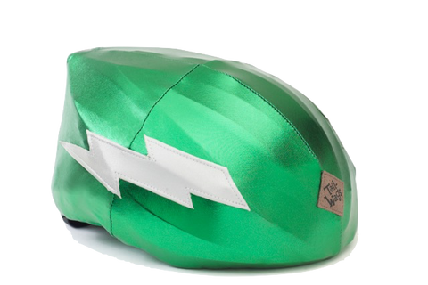 Lightning Helmet Cover (Green) - Girls, Boys & Adult , One Size - Tail Wags Helmet Covers Inc, Tail Wags Helmet Covers
