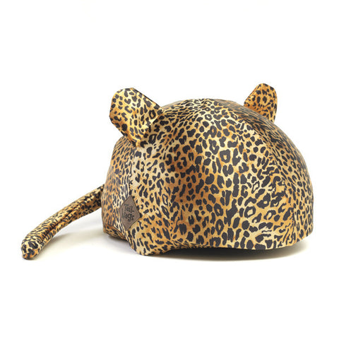Leopard Helmet Cover (Gold) - Girls, Tweens, Teens & Adult , One Size - Tail Wags Helmet Covers Inc, Tail Wags Helmet Covers