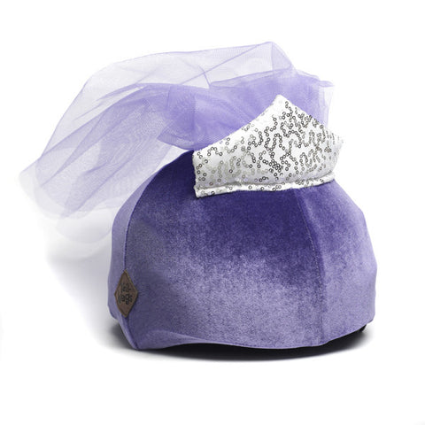Princess Elle Helmet Cover (Purple Velvet) - Girls & Women , One Size - Tail Wags Helmet Covers Inc, Tail Wags Helmet Covers  - 1