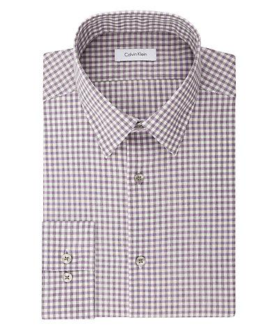 --Calvin Klein, Calvin Klein Steel Slim Non Iron Broadcloth Check, MEN'S LS SHIRT--