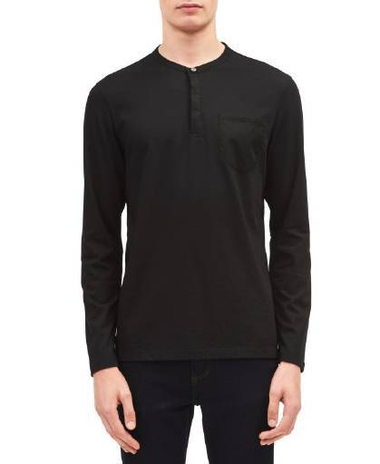 Calvin Klein Classic Fit Solid Pocket Henley Black Combo