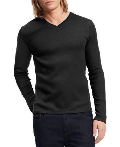Calvin Klein Long Sleeve Ribbed V-Neck T Shirt Black