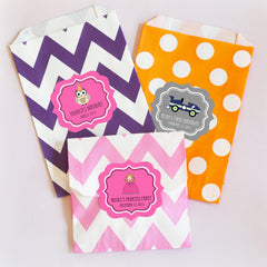 Personalized MOD Kid's Birthday Chevron & Dots Goodie Favor Treat Bags (set of 12)