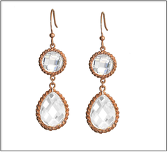 Rose Gold Clear Teardrop Earring
