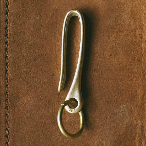 Snake Hook Solid Brass Key Loop Pocket Clip Keychain with Ring
