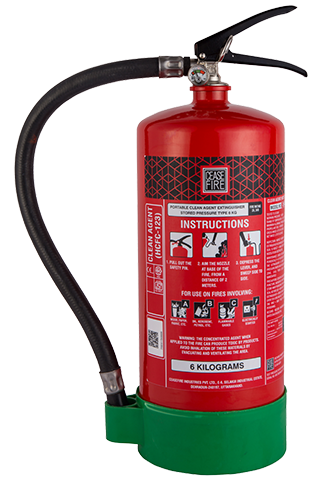 Ceasefire Clean Agent (HCFC123) Based Fire Extinguisher - 6 Kg