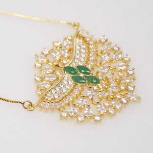 Big Emerald and CZ Pendant with Chain - Enumu