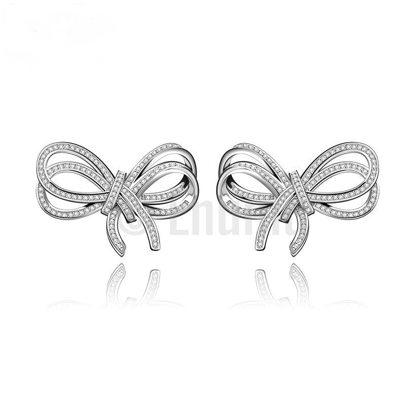 Big Swiss Zircon Bow Studs - Enumu