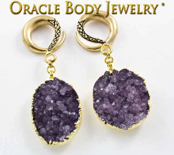 Crossover with Gold Plated Rough Amethyst