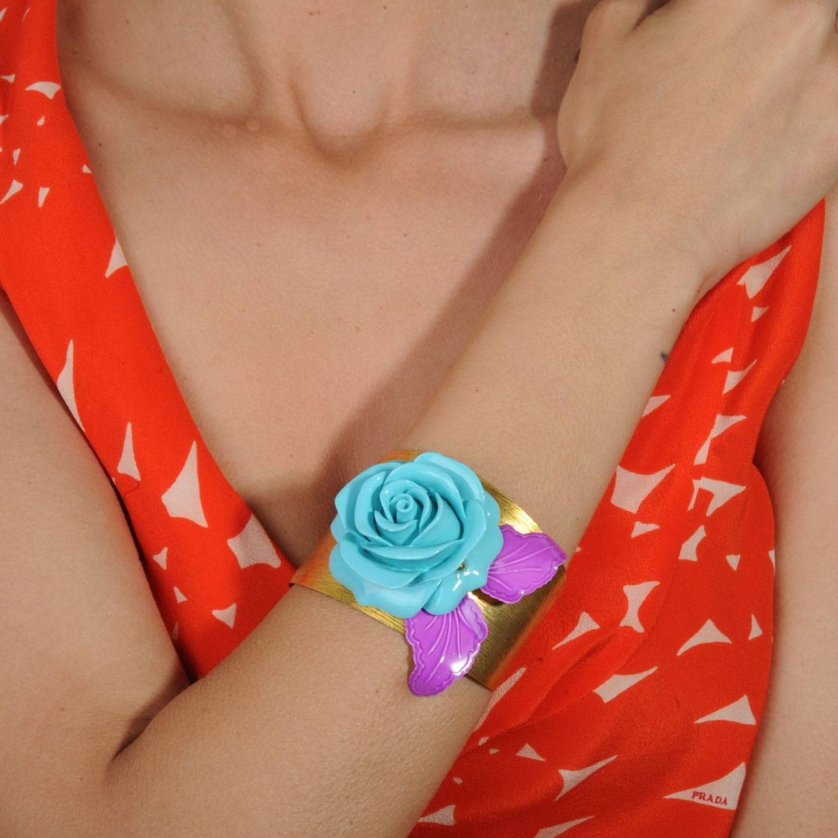 Bronze cuff bracelet with turquoise resin flower katerina psoma
