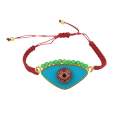 Gold Plated 925 Silver and Turquoise Enamel Evil Eye Cord Charm Bracelet