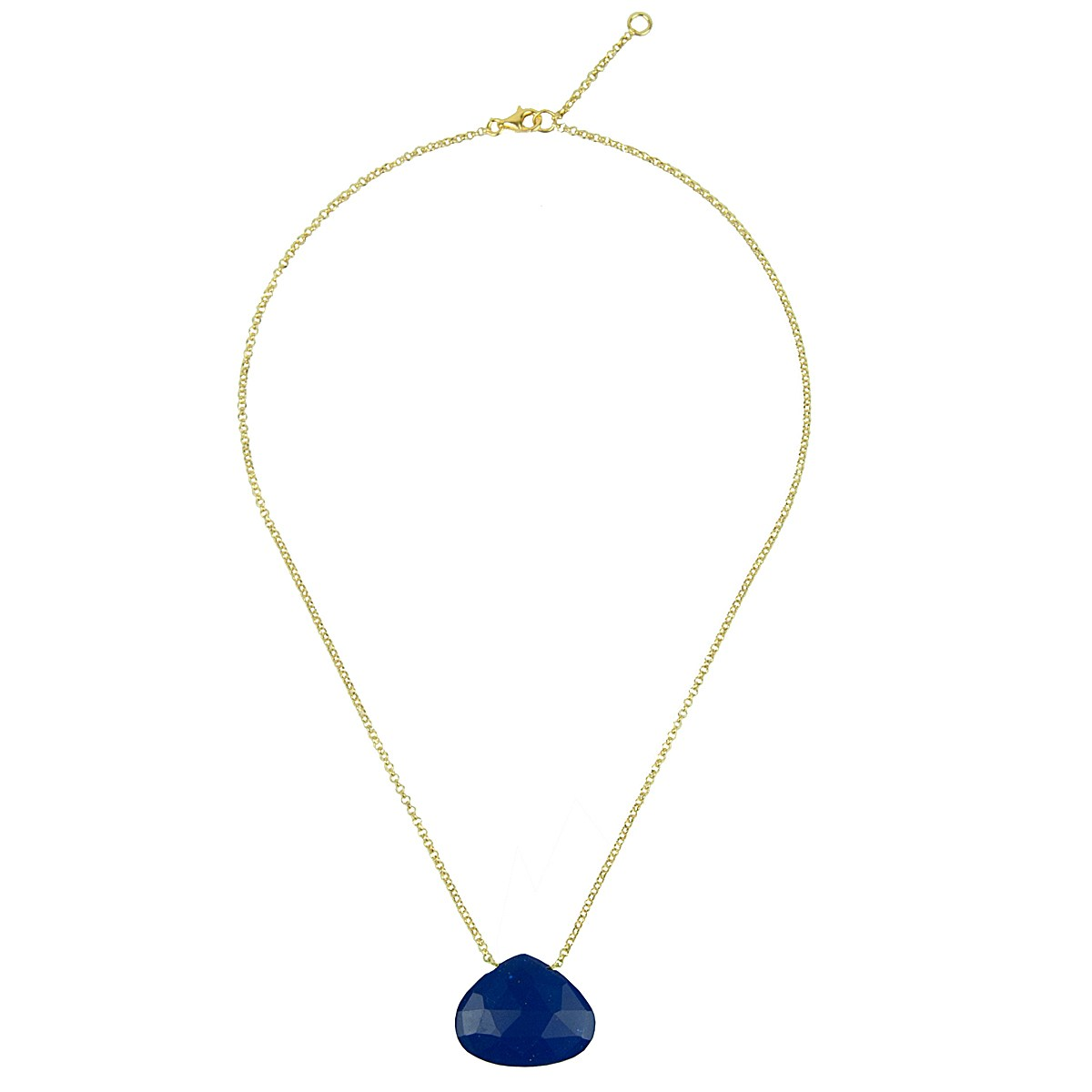 semiprecious lapis lazuli stone with fine gold plated silver chain