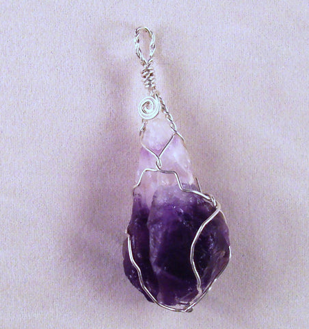 Amethyst (Rough) and Sterling Silver Wire Wrapped Pendant