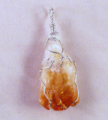 Citrine (Rough) and Sterling Silver Wire Wrapped Pendant