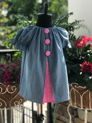 RoseThreads lightweight denim pleated front contrast accent fabric cotton ships shipping fast bloomers buttons peasant dress handmade one of a kind original boutique baby dress toddler dress