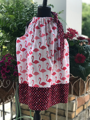 RoseThreads infant toddler pillowcase dress designer fabrics baby bloomers pantaloons diaper cover handmade one of a kind original vintage inspired cotton ready to ship boutique flamingos