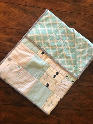RoseThreads baby quilt handmade flannel squares minky cotton batting full binding cotton soft warm made in us ready to ship ships fast fast shipping woodland animals teal aqua baby boy baby girl RoseThreads
