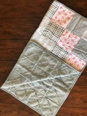 RoseThreads baby quilt handmade flannel squares minky cotton batting full binding cotton soft warm made in us ready to ship ships fast fast shipping baby elephants pink grey white baby girl