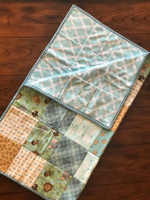RoseThreads baby quilt handmade flannel squares minky cotton batting full binding cotton soft warm made in us ready to ship ships fast fast shipping baby jungle animals teal aqua baby boy baby girl RoseThreads