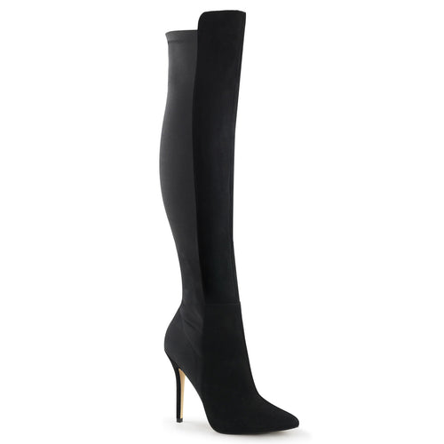 AMUSE-2018 Pleaser Sexy Shoes 5 Inch Heel Platform Pull-On Over-The-Knee High Boots-Single Soles-Pleaser-7 uk (40 Europe - 10 Usa)-Black Suede-Nylon-Miss Hollywood Sexy Shoes