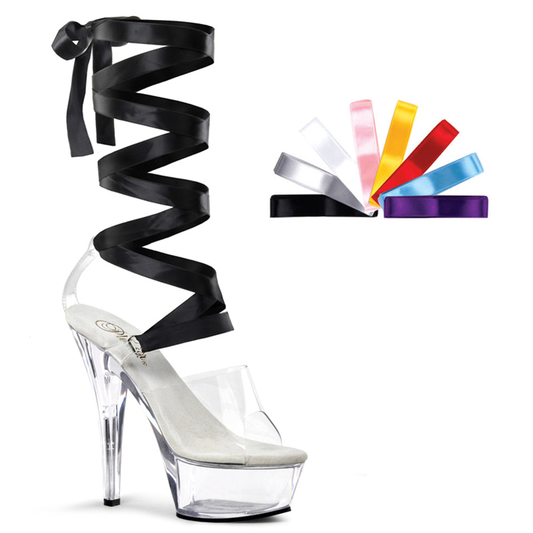 KISS-295 Pleaser Sexy Shoes 6 Inch Heel Lace-Up Platforms Sandals with Interchangeable Laces-Pleaser-Miss Hollywood Sexy Shoes