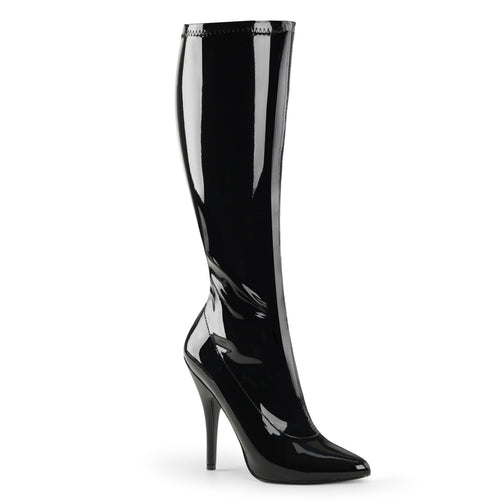 SEDUCE-2000 Pleaser Sexy Shoes 5 Inch Plain Stretch Knee High Length Boots, Side Zip-Pleaser-Miss Hollywood Sexy Shoes