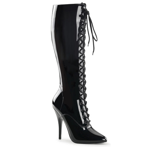 SEDUCE-2020 Pleaser Sexy Shoes 5 Inch Lace Up Knee High Length Boots, Side Zip-Pleaser-Miss Hollywood Sexy Shoes