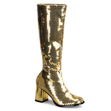 Load image into Gallery viewer, SPECTACUL-300SQ Bordello Kinky Boots 3 Inch Block Heel Sequins Knee High Length Boots-Boots-Bordello-7 uk (40 Europe - 10 Usa)-Gold Sequins-Miss Hollywood Sexy Shoes
