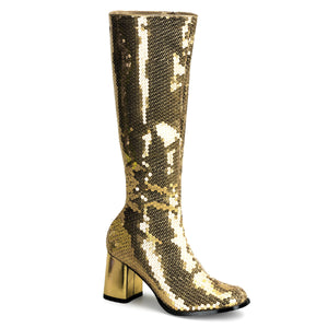 SPECTACUL-300SQ Bordello Kinky Boots 3 Inch Block Heel Sequins Knee High Length Boots-Boots-Bordello-7 uk (40 Europe - 10 Usa)-Gold Sequins-Miss Hollywood Sexy Shoes