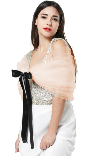 TULLE SHAWL NET CAPE COVER-UP