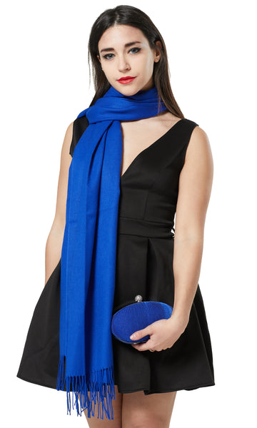 PASHMINA AND PEARL SHAPE CLUTCH BAG GIFT SET - COLBOLT BLUE