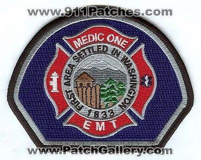 Dupont Fire Department Medic One EMT EMS Patch Washington WA Gray - SKU67